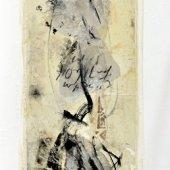 Encre, pastel sec, et collage de papier sur toile - Décembre 2008 - 40 x120 cm
